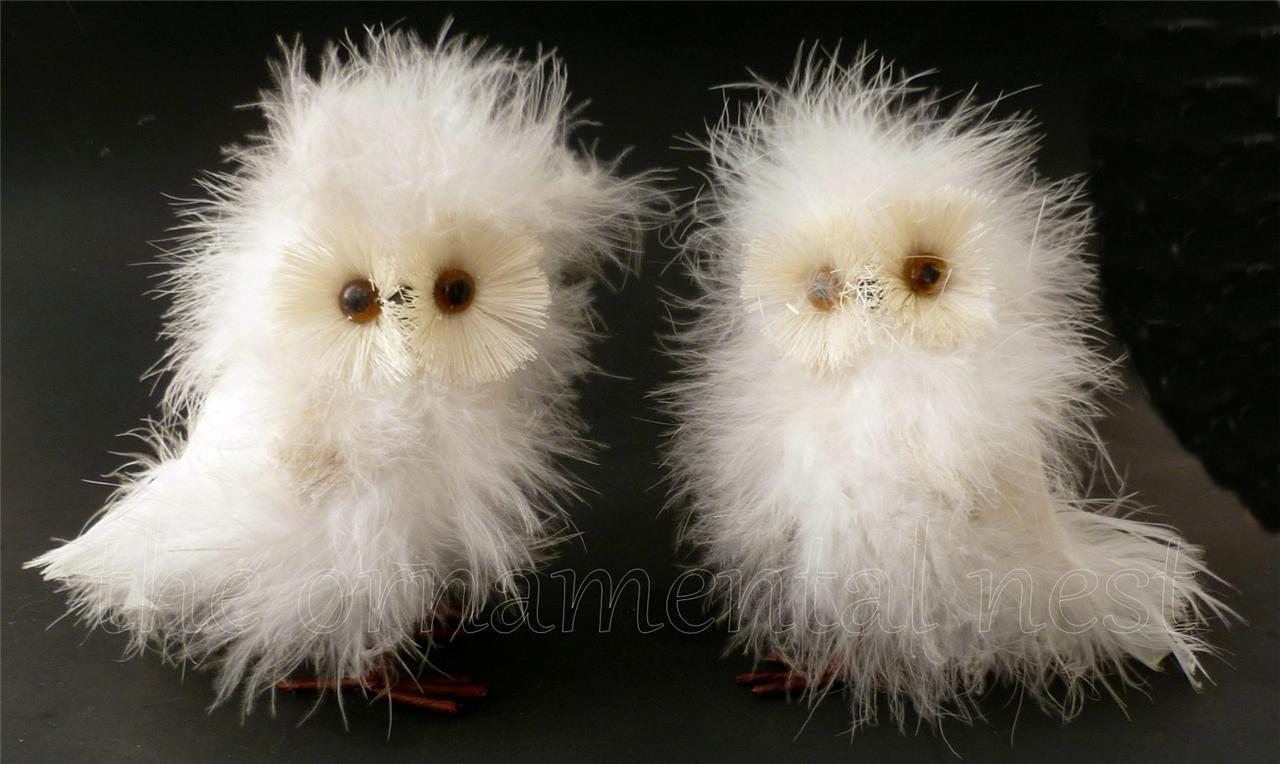 2 Fluffy Fuzzy White Snowy Barn Owls Christmas Marabou Feather