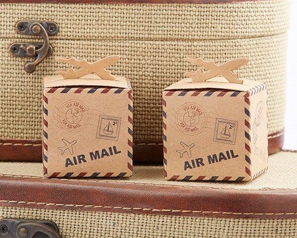 24 Adventure Airplane Kraft Favor Boxes Wedding Travel Theme Favors