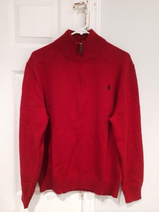 Polo Ralph Lauren 9323 Mens Red Cotton Mock Neck 1/2 Zip Sweater ...