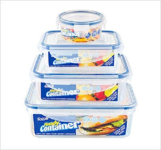 4pk Plastic Container Food Storage Airtight Kitchen Set With Lids