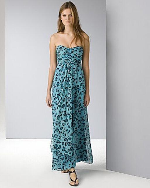 Nanette Lepore Full Length Silk Dress Teal Cheetah Leopard Print Sz ...