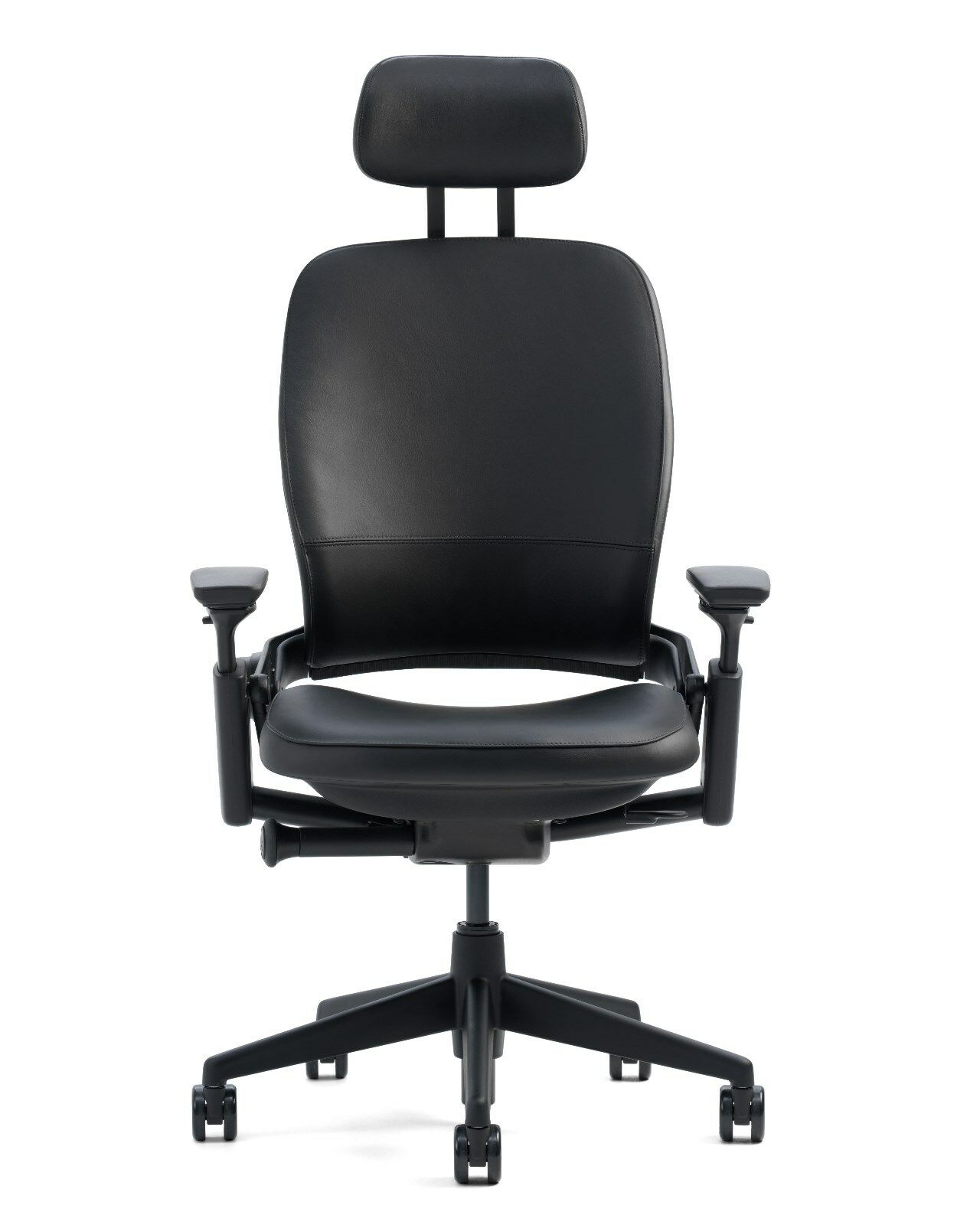 Steelcase Leap V2 Leather Dark Grey Cyclone Adjustable Chair Fully