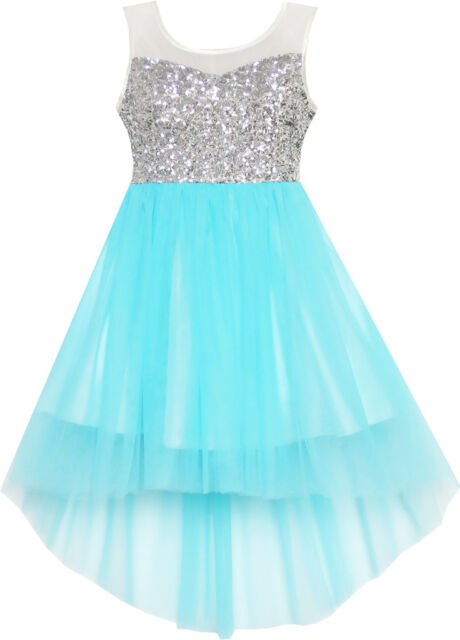 Sunny Fashion Girls Dress Sequin Mesh Party Wedding Princess Tulle