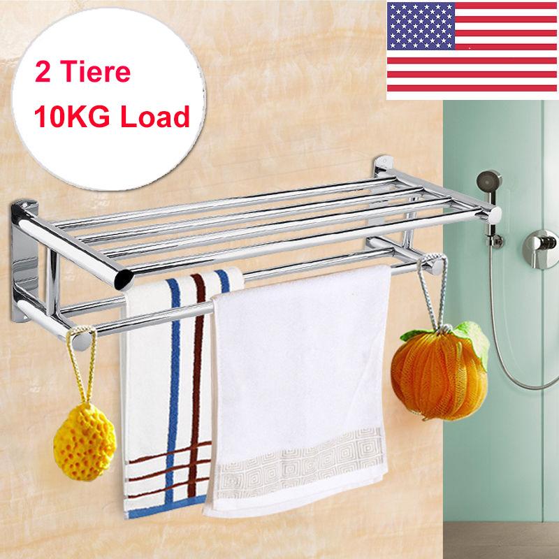2 Tier Wall Mounted Towel Rack Bathroom Hotel Rail Holder Storage ...