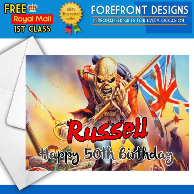 Personalised Iron Maiden Birthday Greeting Card Any Occasionmessage