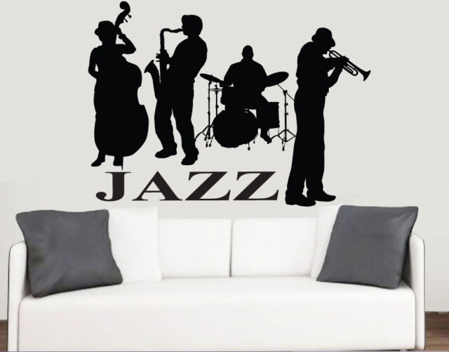 Jazz band silhouette wall art vinyl stickers music swing transfer mural decals