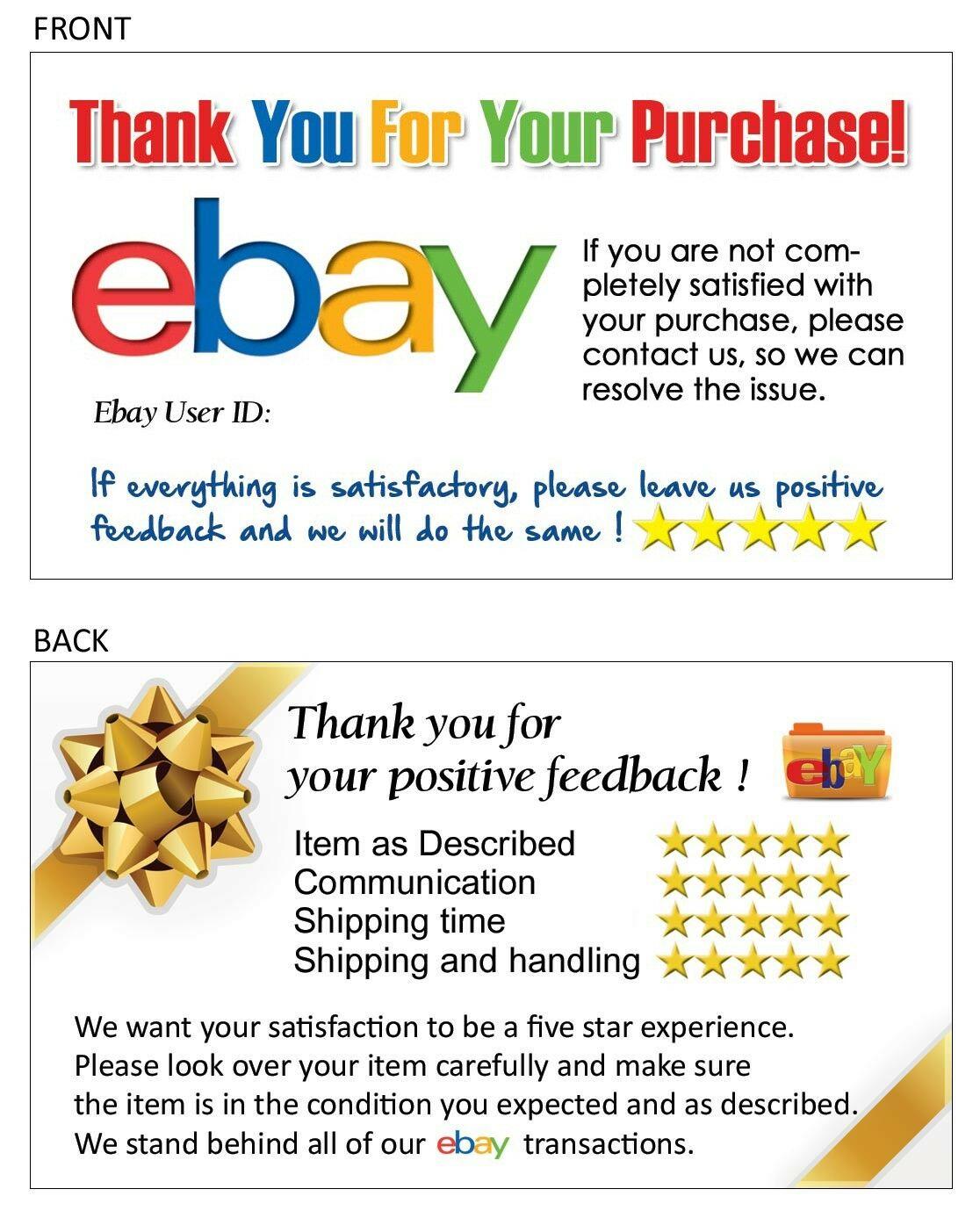 100 Thank You Business Card for EBAY SELLER Your EBAY ID Writable | eBay