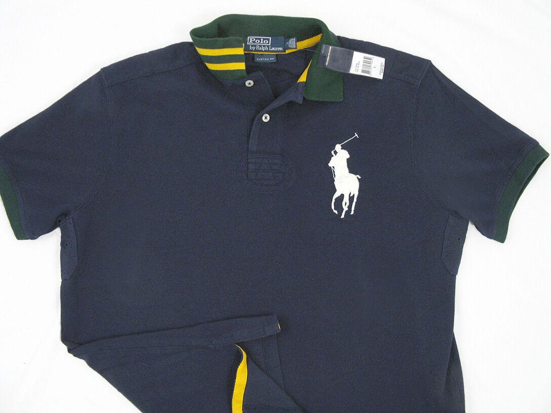 Ralph Lauren Custom Fit Big Pony Rugby Polo Shirt Men L Navy Blue