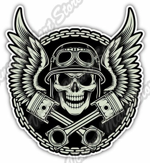 Vintage biker skull helmet chopper engine car bumper vinyl sticker decal