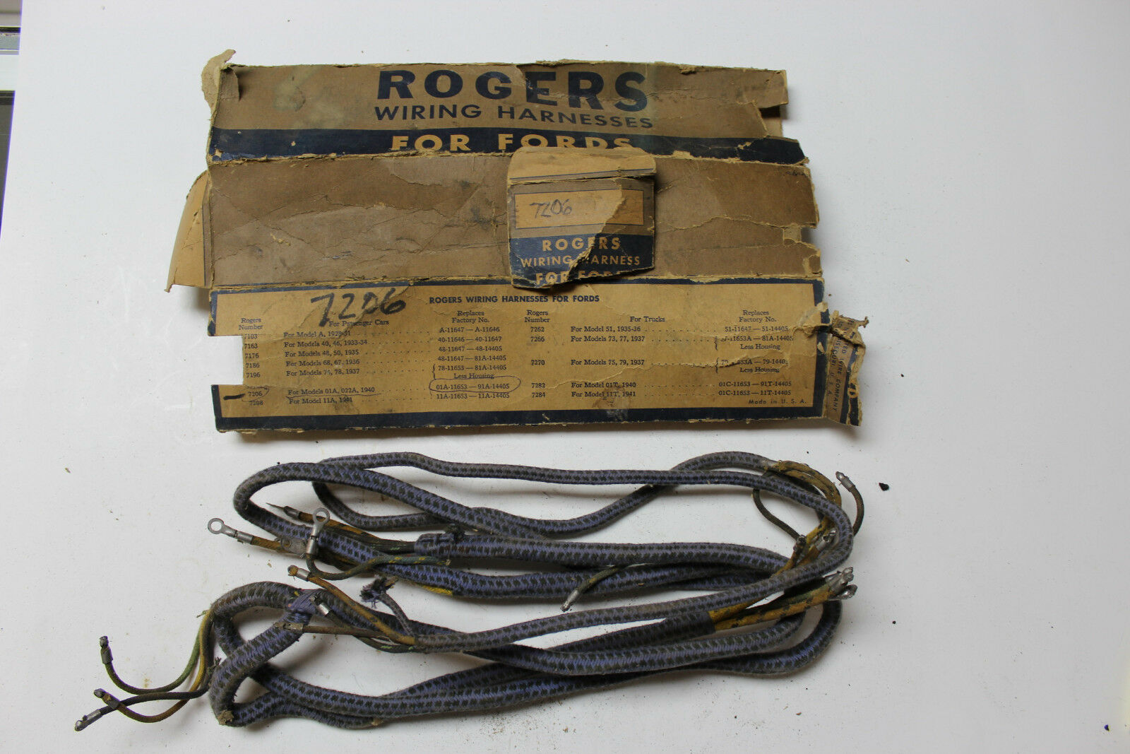 Nos Vintage Cloth Rogers Wiring Harness For Ford 7206 210 Ebay 1929 Model A Norton Secured Powered By Verisign