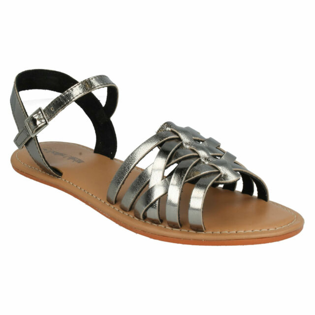 Leather Collection F0928 Ladies Pewter Leather Buckle Fastened Summer Sandals