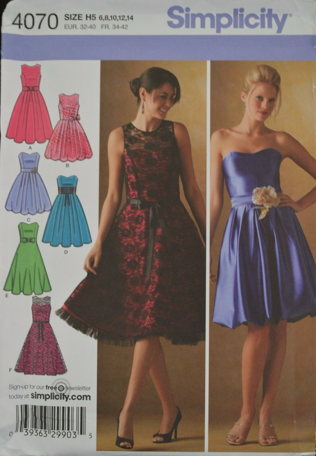 Simplicity Sewing Pattern 4070 H5 Miss/ Miss Petite Special Occasion ...