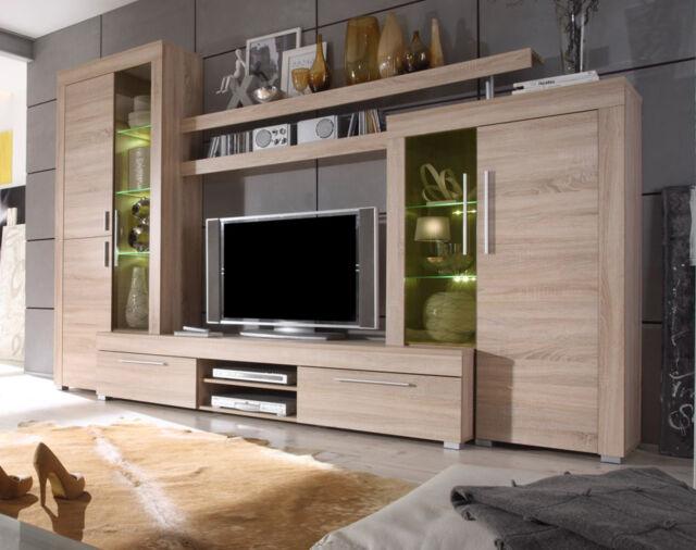 High Quality Wohnwand Schrankwand Sonoma Eiche Wohnzimmer Anbauwand Inkl. Beleuchtung  Boom