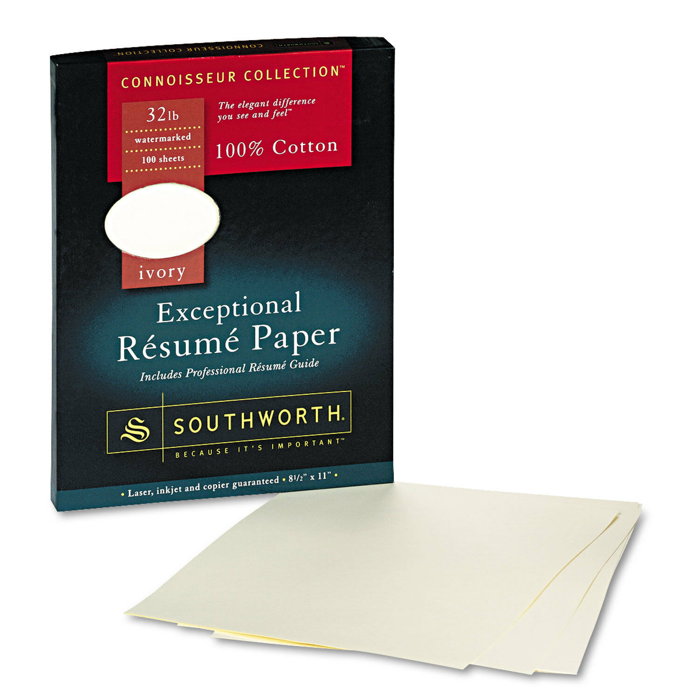 Sou Rd18icf Southworth 100 Cotton Resume Paper 32 Lbs. Ivory Wove   eBay