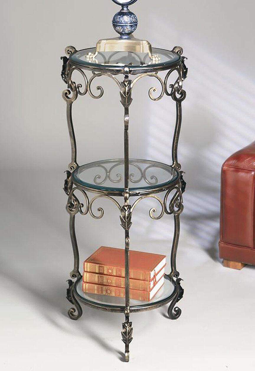 Tuscan Acanthus Bronze Iron 3 Tier Beveled Glass Shelf Etagere ...