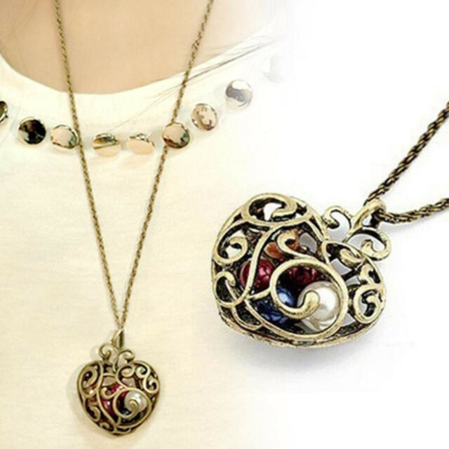 Women Gift Long Bead Hollow Heart Sweater Chain Jewelry Pendant Necklace