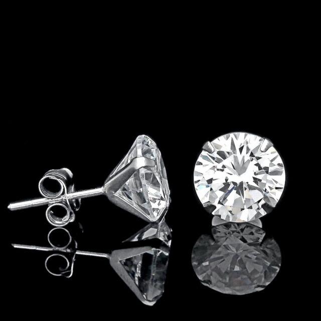 1 Ct Created Diamond Martini Earrings 14k White Gold Solitaire Light G Studs