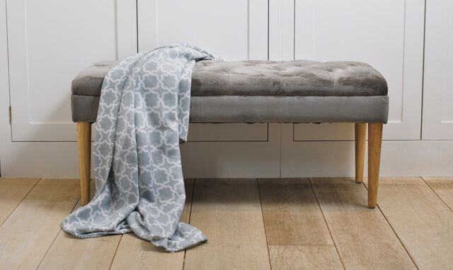 Button Tufted Upholstered Fabric Bench Hallway Bedroom Window Seat Stool,  Grey