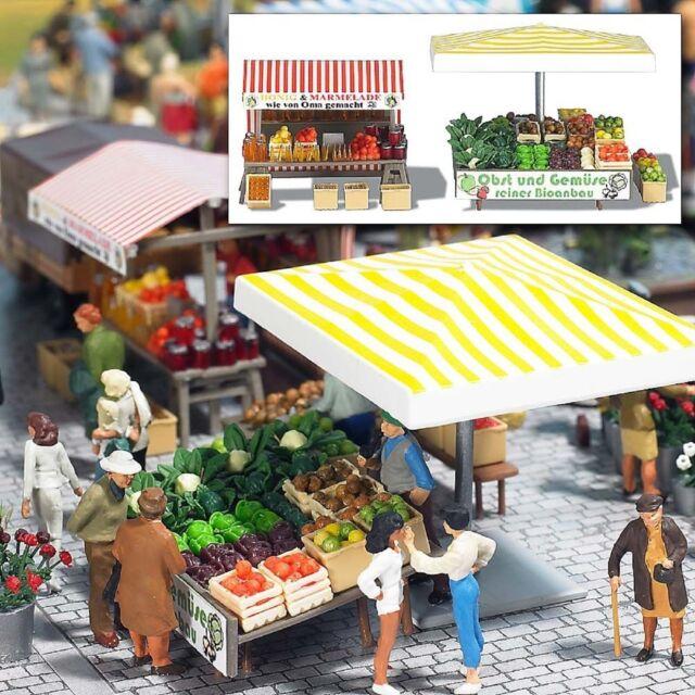 BUSCH 1071 H0, Marktstand Obst und Gemüse, Bausatz, Neu