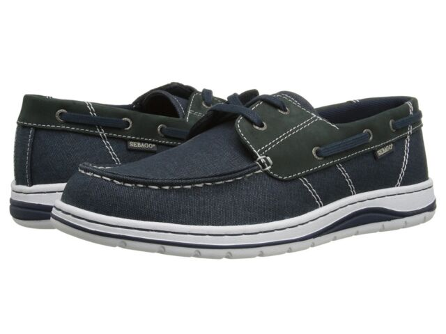 SEBAGO Men's Hartland Two Eye Casual Boat Shoe Navy/Canvas/Nubuck B850060