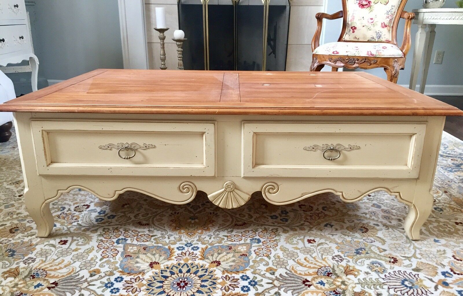 Ethan allen coffee table country french provence collection birch picture 1 of 3 geotapseo Choice Image