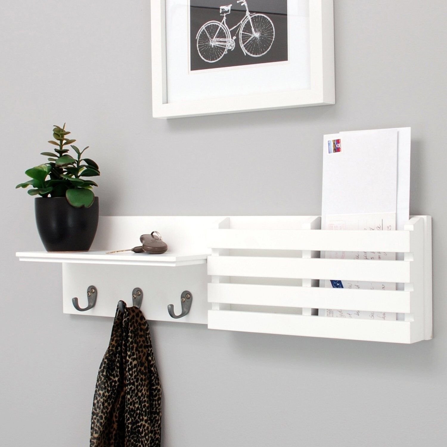 Nexxt wooden modern wall shelves ebay nexxt sydney wall shelf and mail holder with 3 hooks 24 inch by 6 inch white amipublicfo Images