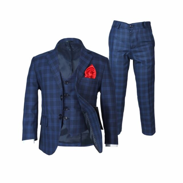 Boys Checkered Navy Suits Page Boy Blue Check Suit Kids Wedding ...