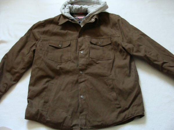 Men's Craftsman Duck Bomber Jacket Size XXL Brown Work Coat Hood ...
