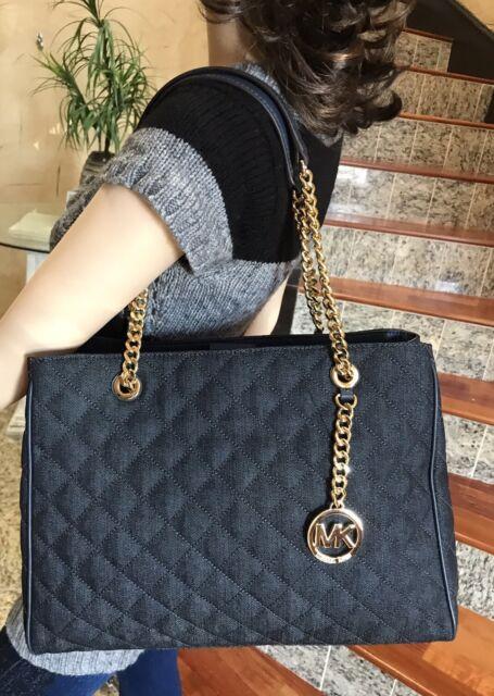 Michael Kors Blue Susannah Denim Large Tote Purse Bag 35s7gaht3c ... : michael kors black quilted handbag - Adamdwight.com