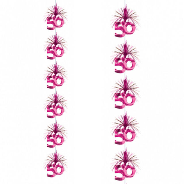 7ft Pink 50th Birthday Party Cascade Column Decoration