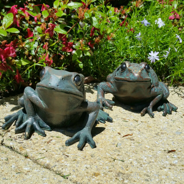Pair Of Large Bronze Frog Garden Ornaments Distressed Vintage Antique Style