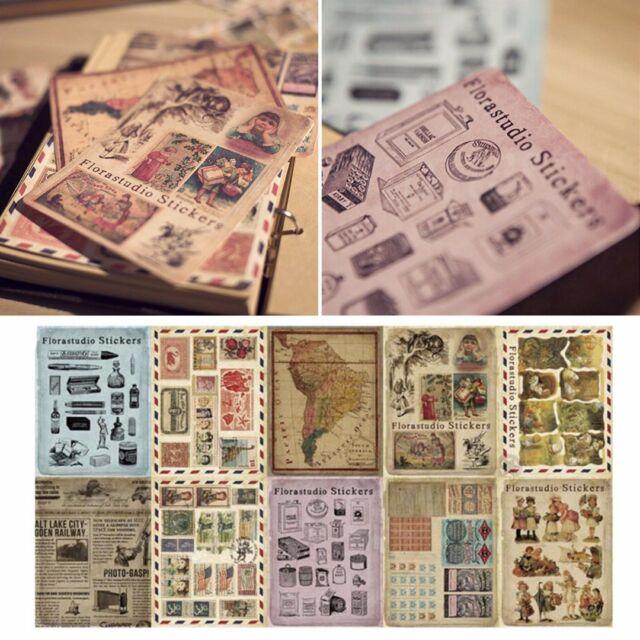 10 Sheetsset Vintage Paper Stickers Diy Scrapbooking Album Diary