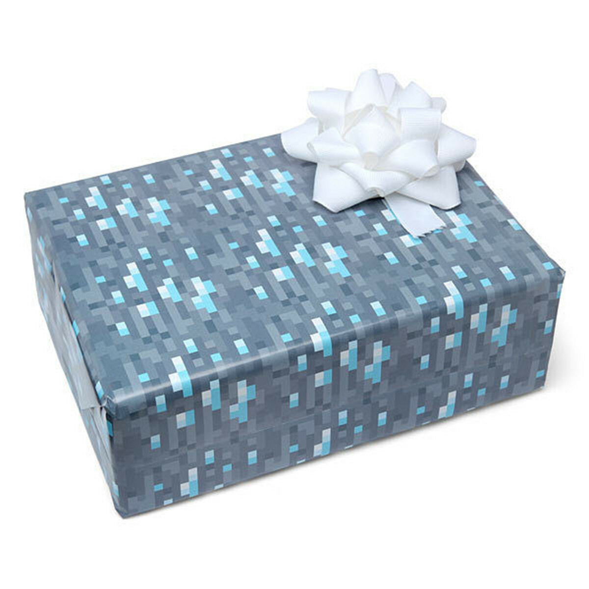 Diamond Ore Wrapping Paper Minecraft Gift Wrap Mine Craft 3 Sheets ...