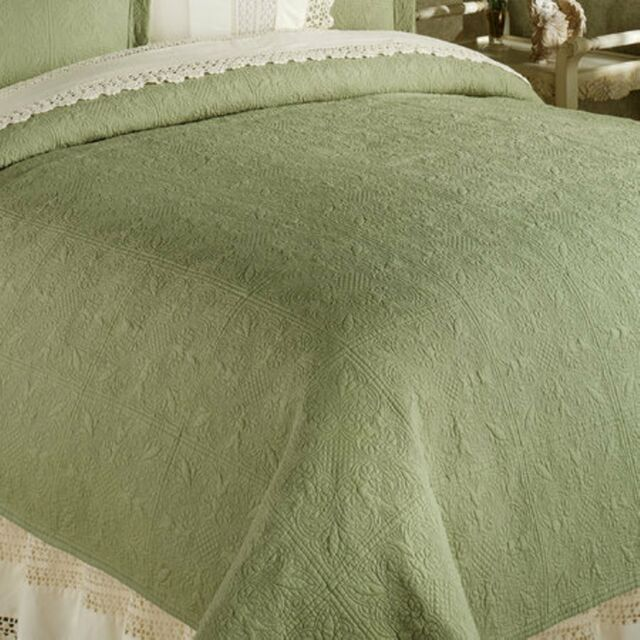 SAGE GREEN Twin Full Queen Or King QUILT   100% COTTON MATELASSE COVERLET