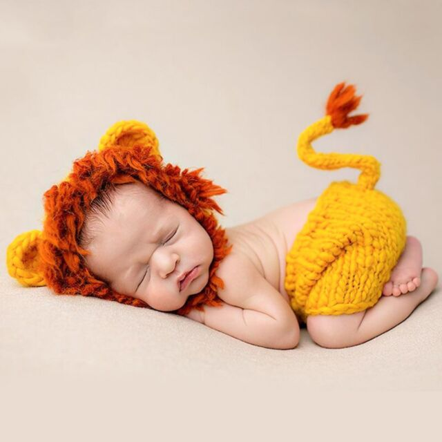 Newborn baby boy infant crochet knit lion hats pants photo photography props set