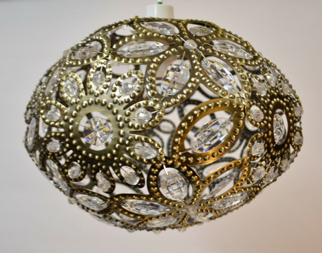 Moroccan Style Antique Brass Jewelled Pendant Light Shade