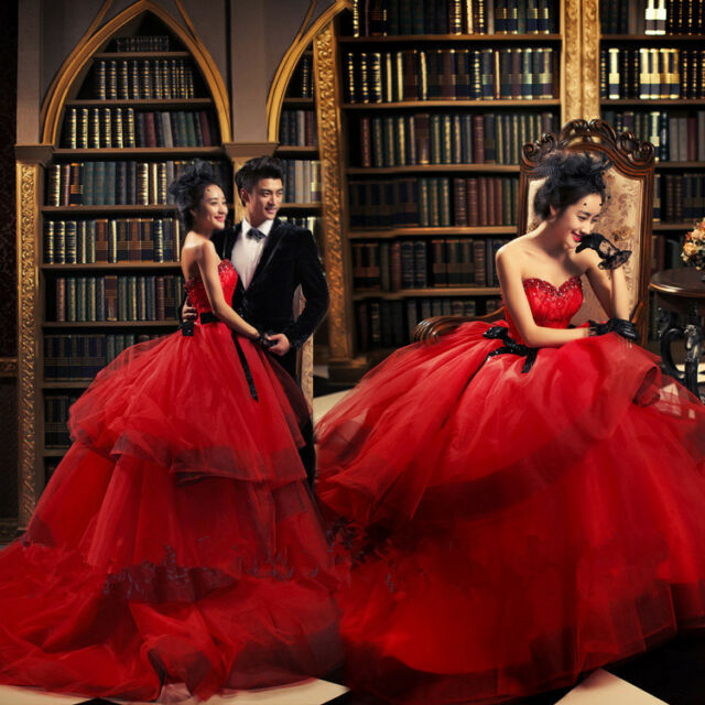 Red Sweetheart Wedding Dress Quinceanera Formal Prom Party Pageant ...
