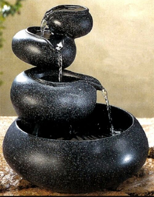 Water Four Tier Fountain Tabletop Home Decorative Black