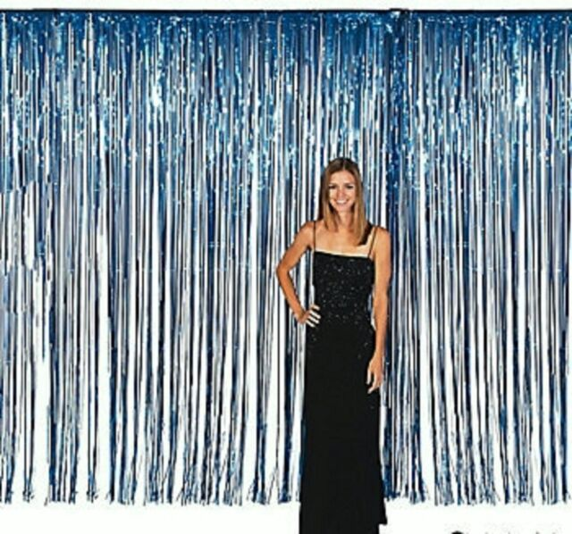 Large DK Blue Long Plastic Foil Fringe Door Curtain Backdrop ...