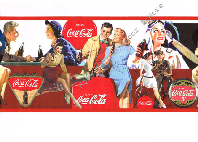 Vintage style collectible coca cola wallpaper border 375803025 run 1 retro coke ebay - Vintage coke wallpaper ...