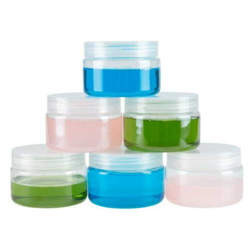 Stalwart Clear 4 Ounce Plastic Jars Screw On Lids For Lotions Crafts