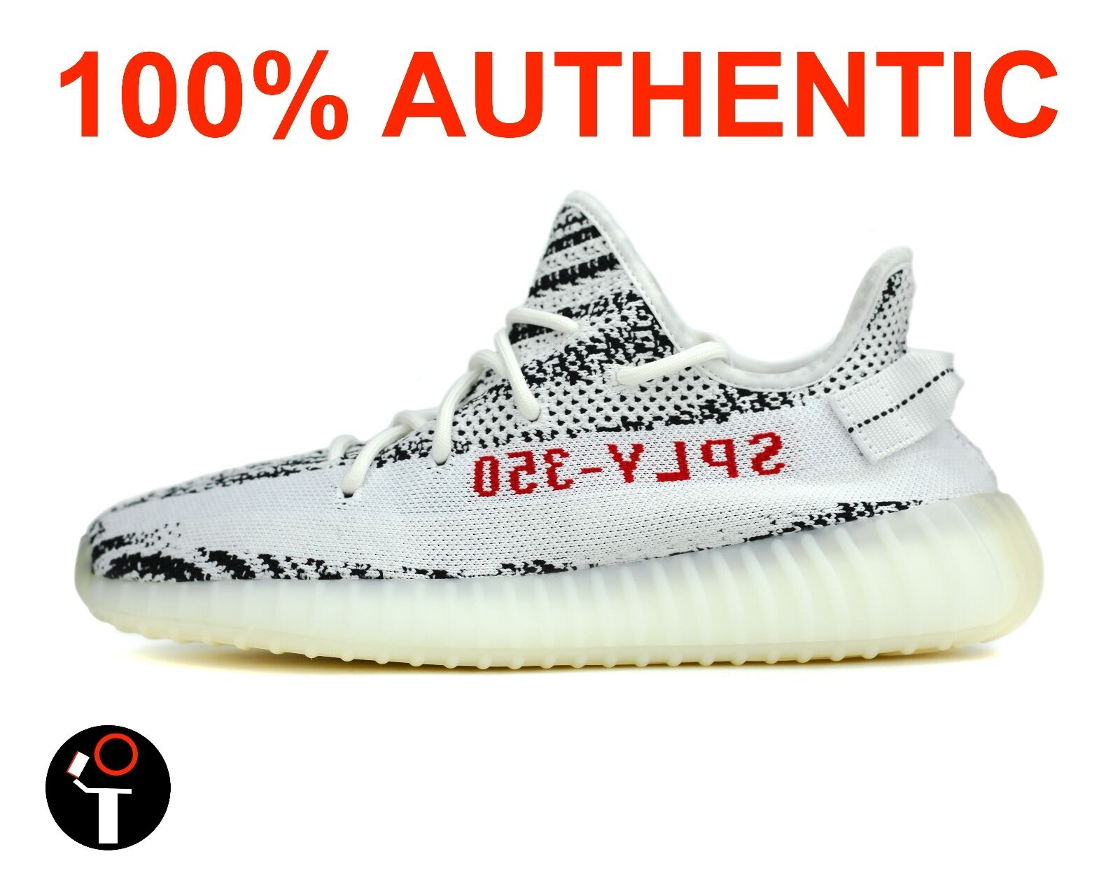 ADIDAS YEEZY BOOST 350 V2 4-14 WHITE BLACK RED ZEBRA CP9654. LEGIT!