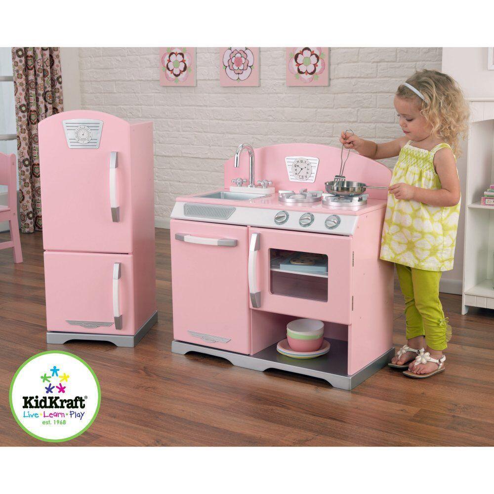 Kidkraft Pink Retro Kitchen And Refrigerator EBay - Kidkraft pink retro kitchen and refrigerator 53160