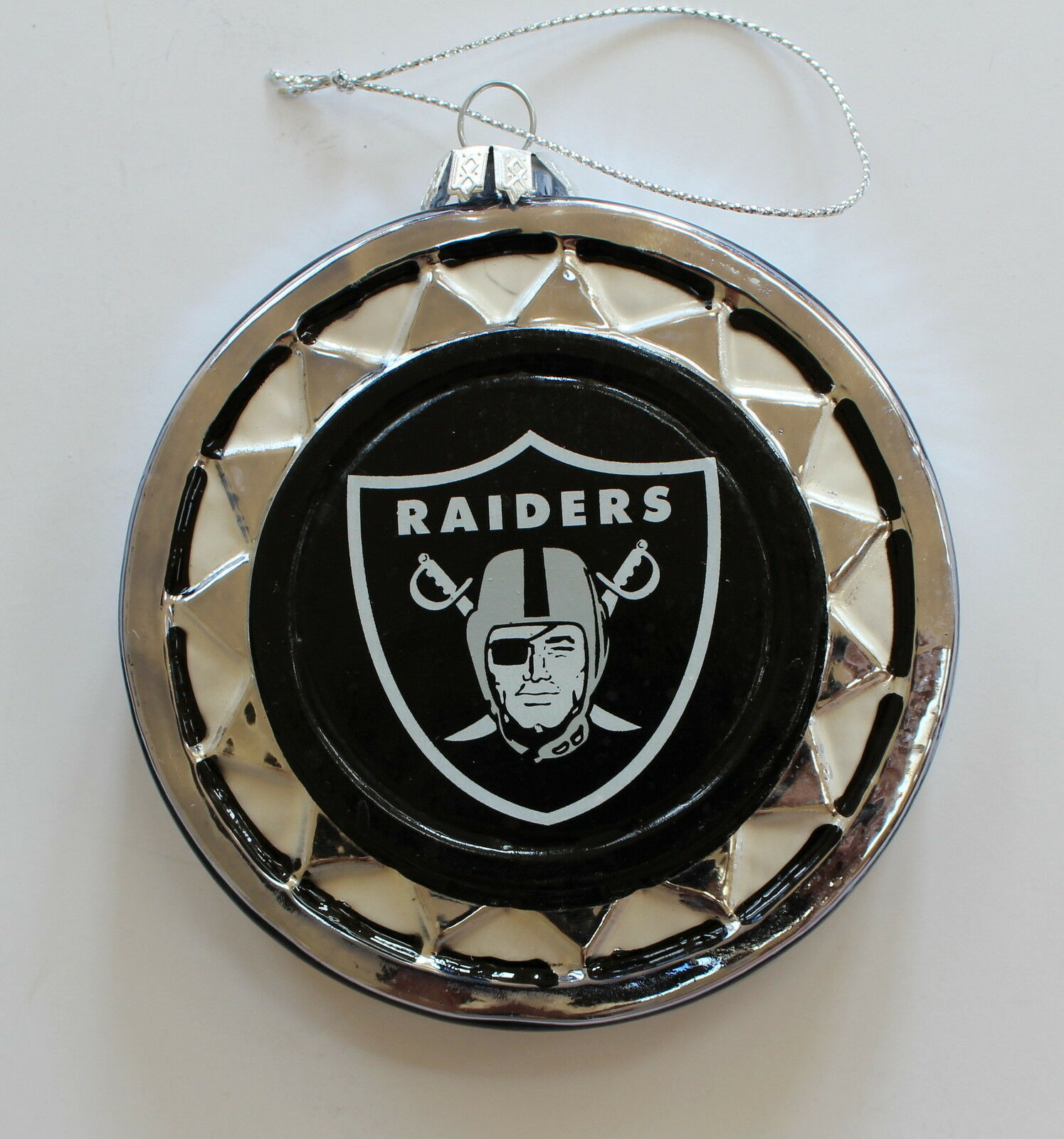 Oakland Raiders Blown Glass Logo Disc Ornament | eBay