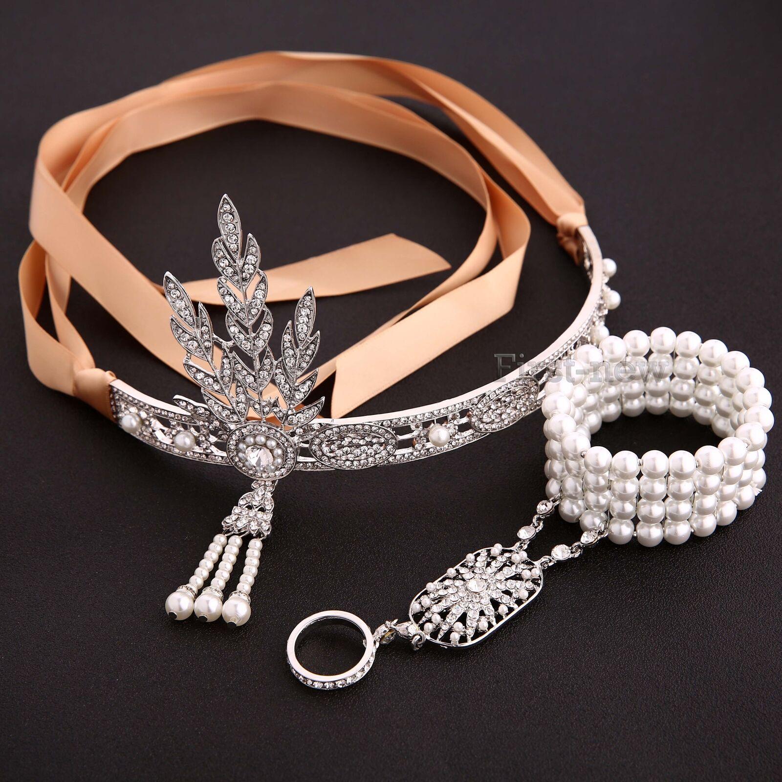1920s Headband Bracelet Ring Sets Great Gatsby Flapper Vintage