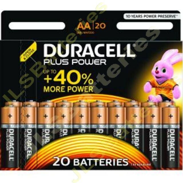 20 Pack DURACELL Plus AA MN1500 LR6 Batteries 1.5V ALKALINE Stilo/ Mignon