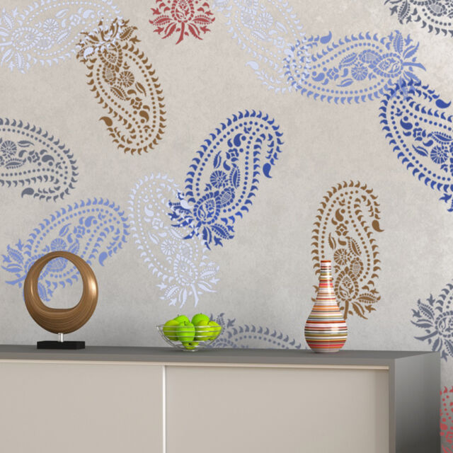 Vintage Paisley Stencil Damask Pattern For Diy Wall Decor Wallpaper Look