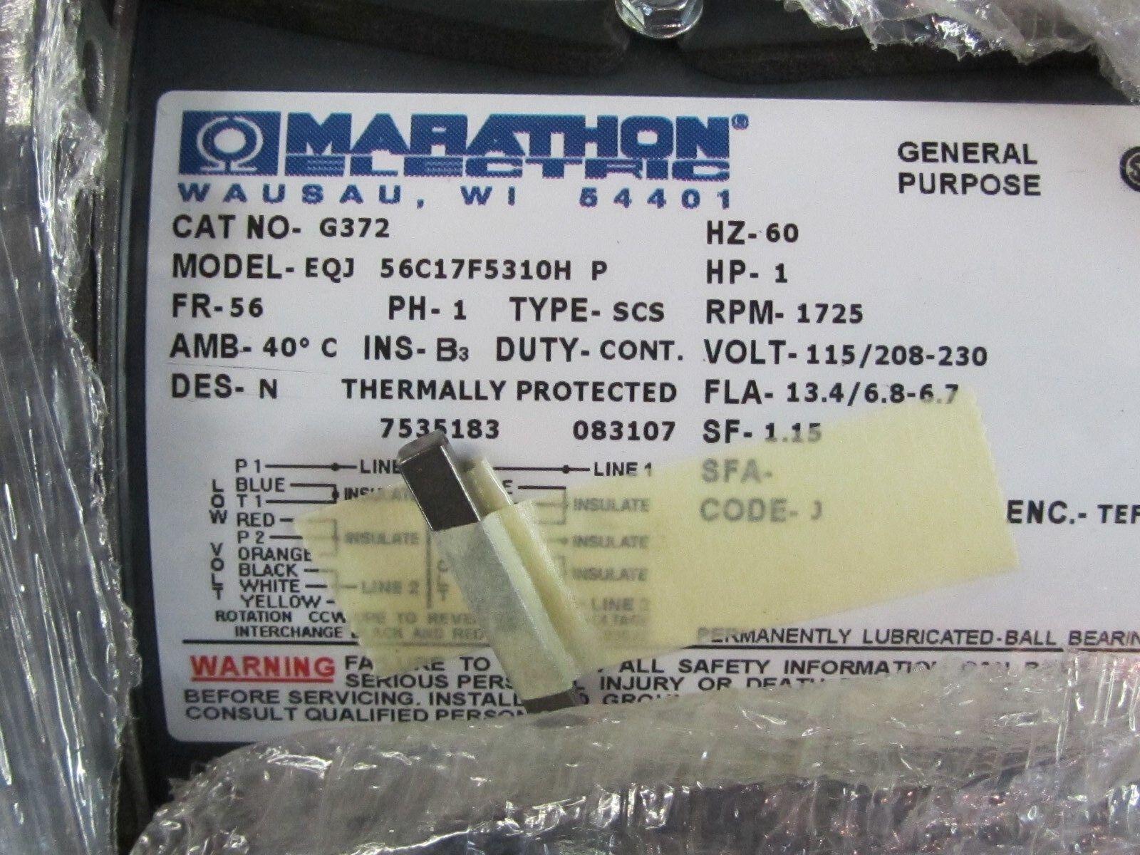 Marathon Motors Motor 1 HP 1725 RPM 115/208-230v 56C17F5310 G372 | eBay
