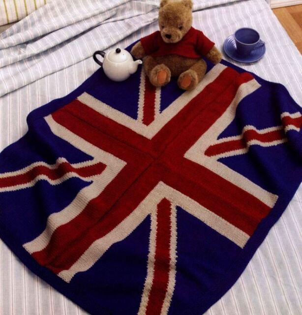 Knitting Pattern Union Jack Blanket Easy Knit Afghan Throw Ebay