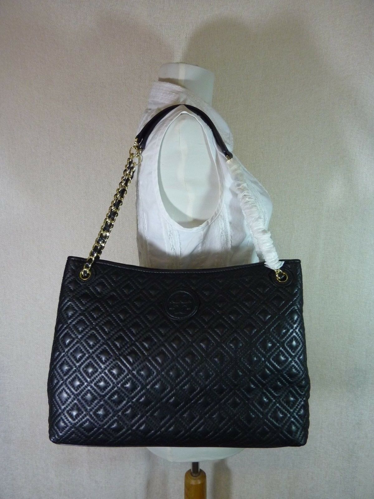 550 Tory Burch Marion Tote Purse Handbag Quilted Chain Hand Bag ... : black quilted chain bag - Adamdwight.com